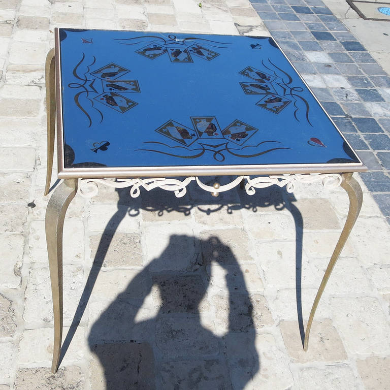 Painted Églomisé Mirrored Game Table in the Manner of Rene Drouet For Sale