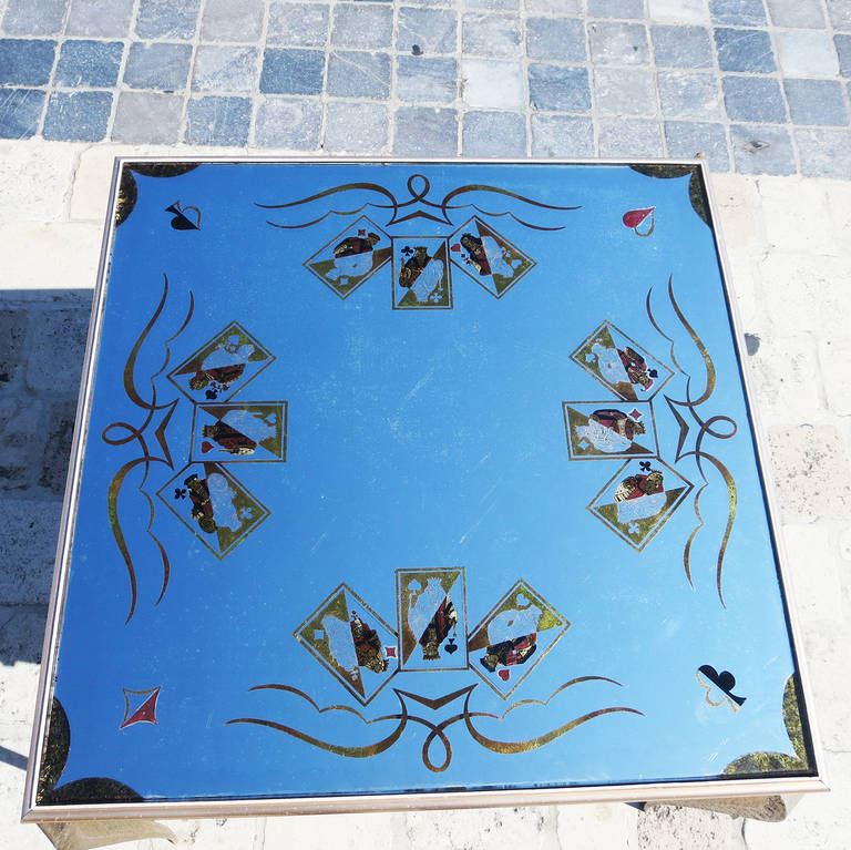 French Églomisé Mirrored Game Table in the Manner of Rene Drouet For Sale