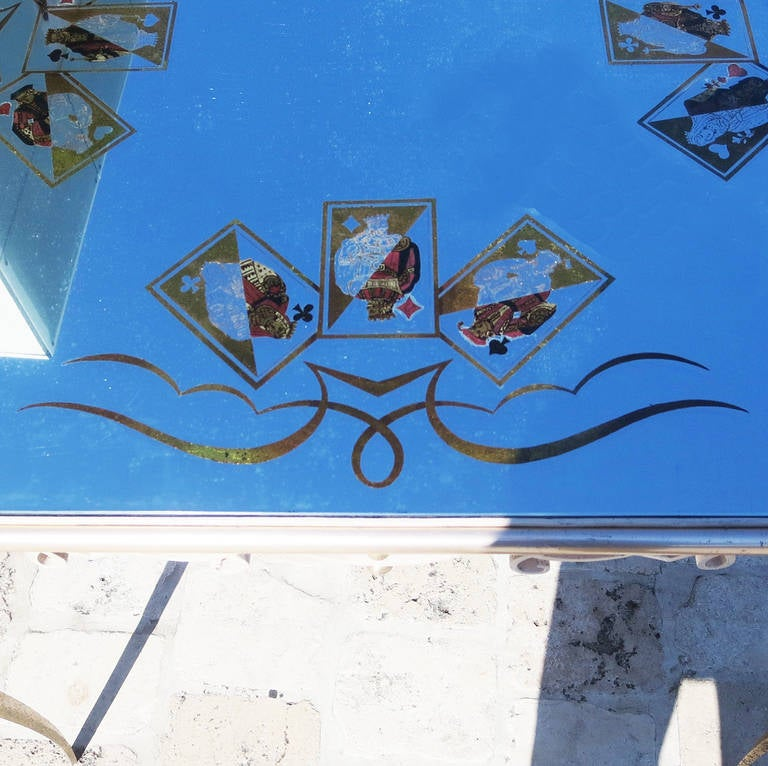 Églomisé Mirrored Game Table in the Manner of Rene Drouet In Good Condition For Sale In North Hollywood, CA
