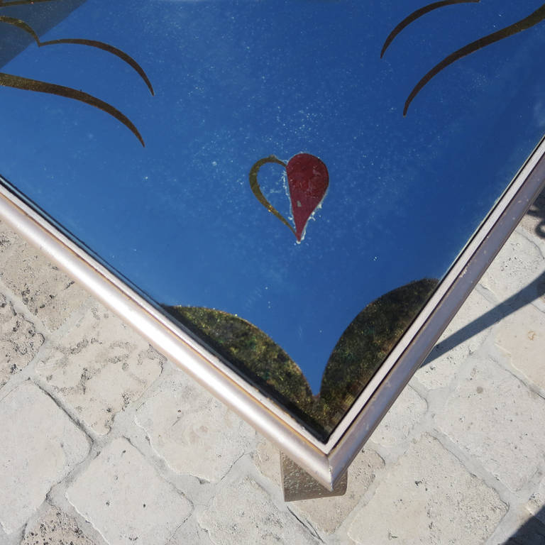 Mid-20th Century Églomisé Mirrored Game Table in the Manner of Rene Drouet For Sale