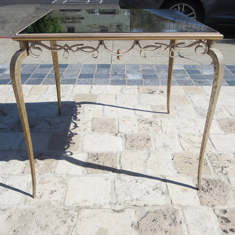 Églomisé Mirrored Game Table in the Manner of Rene Drouet For Sale 1
