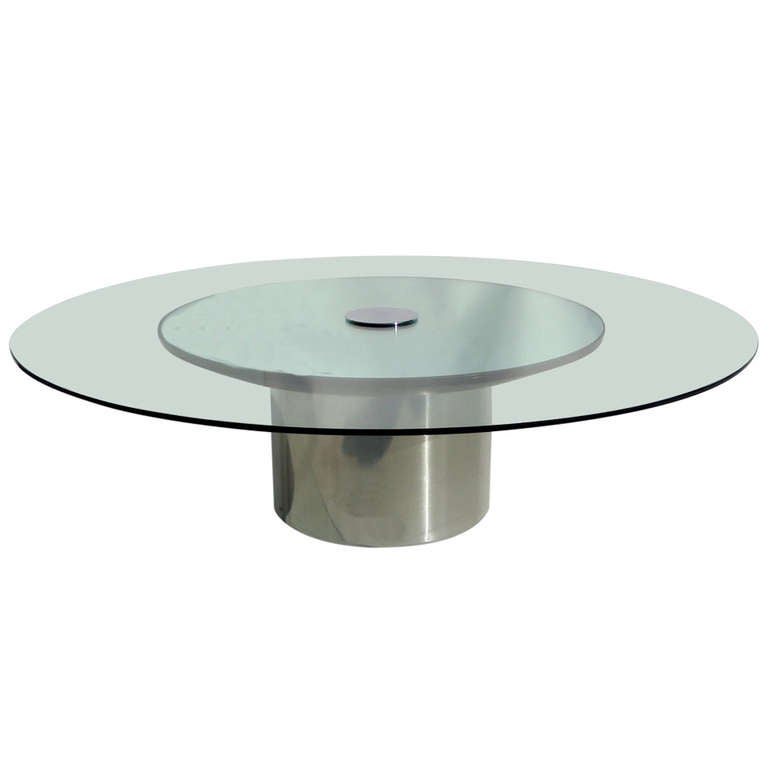 Polished Metal Glass And Mirror Coffee Table By Pace For Sale At 1stdibs