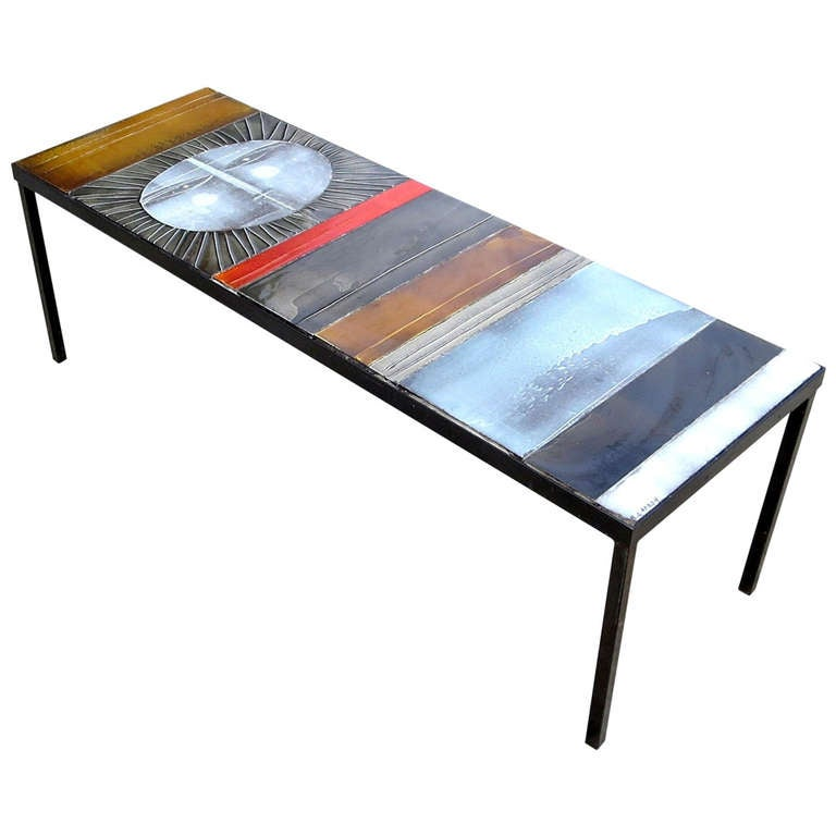 Glazed Tile Coffee Table By Roger Capron At 1stdibs