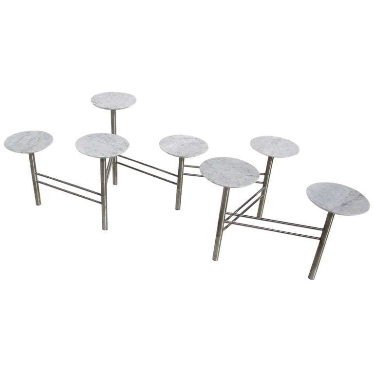 Folding coffee table in marble and brushed chrome at 1stdibs - Folding glass coffee table ...