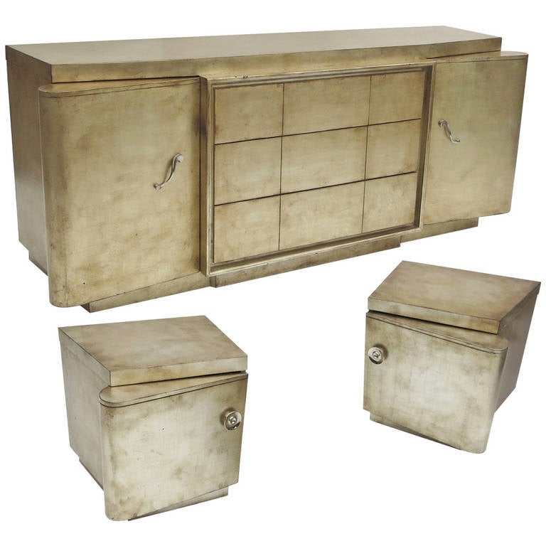 Silver Leafed Mid Century Bedroom Set in the Manner of James Mont For Sale