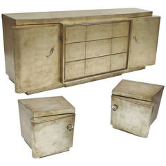 Silver Leafed Mid Century Bedroom Set in the Manner of James Mont