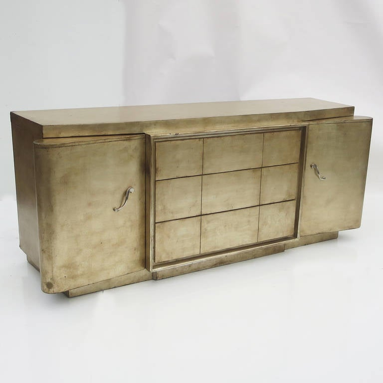 American Silver Leafed Mid Century Bedroom Set in the Manner of James Mont For Sale