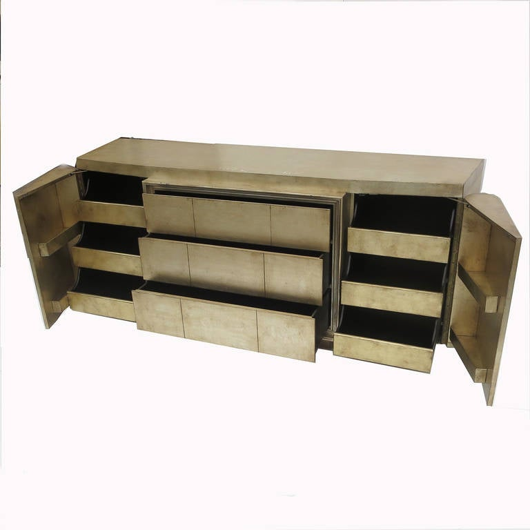 Mid-20th Century Silver Leafed Mid Century Bedroom Set in the Manner of James Mont For Sale