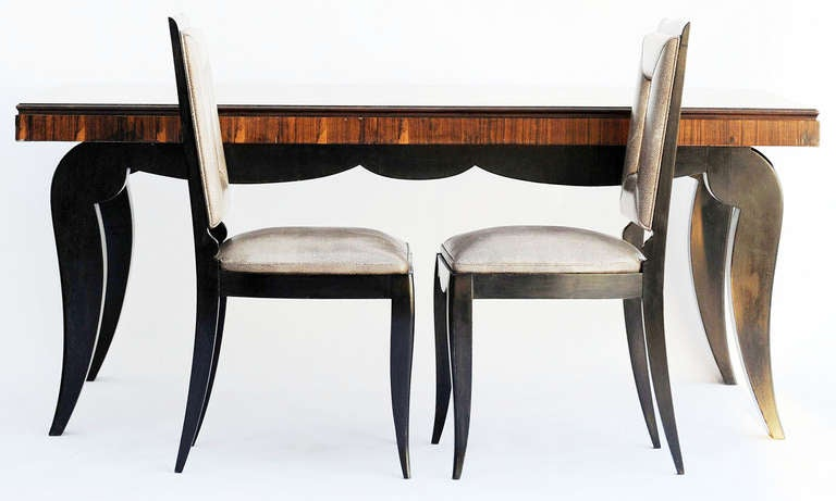 Art Deco Dining Table and Eight Chairs in the Manner of Jules Leleu For Sale 4