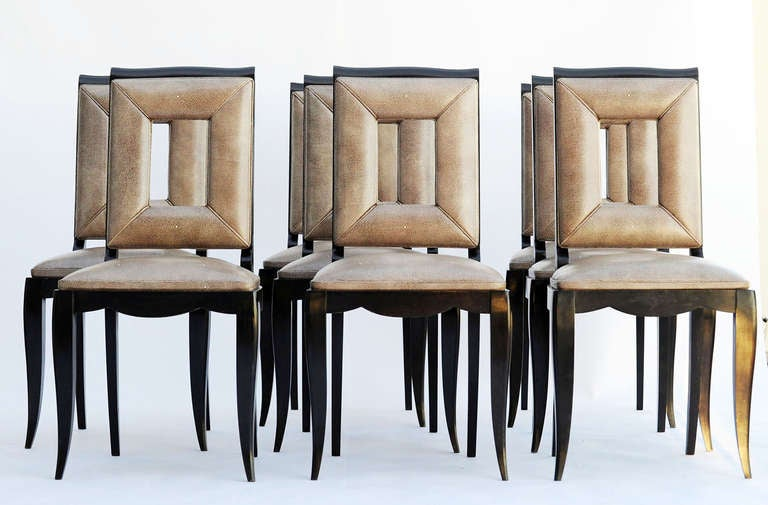 Leather Art Deco Dining Table and Eight Chairs in the Manner of Jules Leleu For Sale