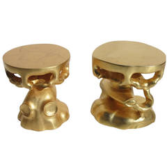 Gold Gilded Free-Form Sculptural Stools, 1970s