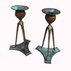 Tiffany Bronze Candlesticks 1906