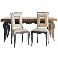 Art Deco Dining Table and Eight Chairs in the Manner of Jules Leleu