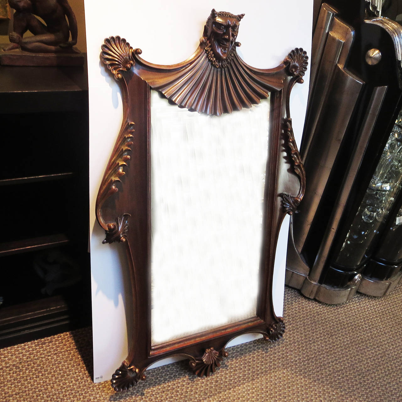 Carved Wooden Devil Wall Mirror At 1stdibs
