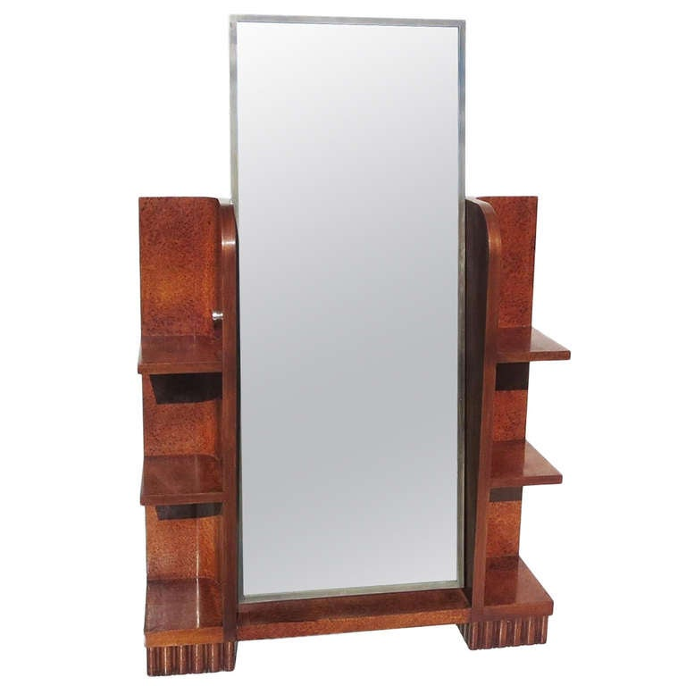 Art deco burled wood standing cheval mirror at 1stdibs for Wood floor length mirror