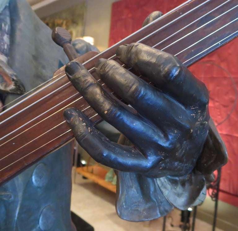 Austrian Goldscheider Polychromed Ceramic Minstrel with Banjo For Sale