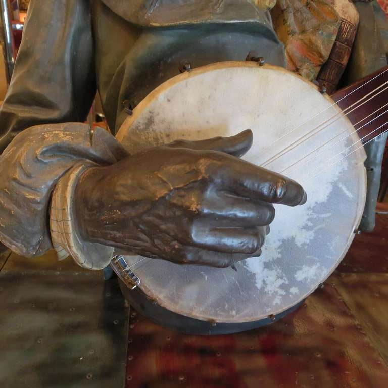 Goldscheider Polychromed Ceramic Minstrel with Banjo In Good Condition For Sale In Los Angeles, CA