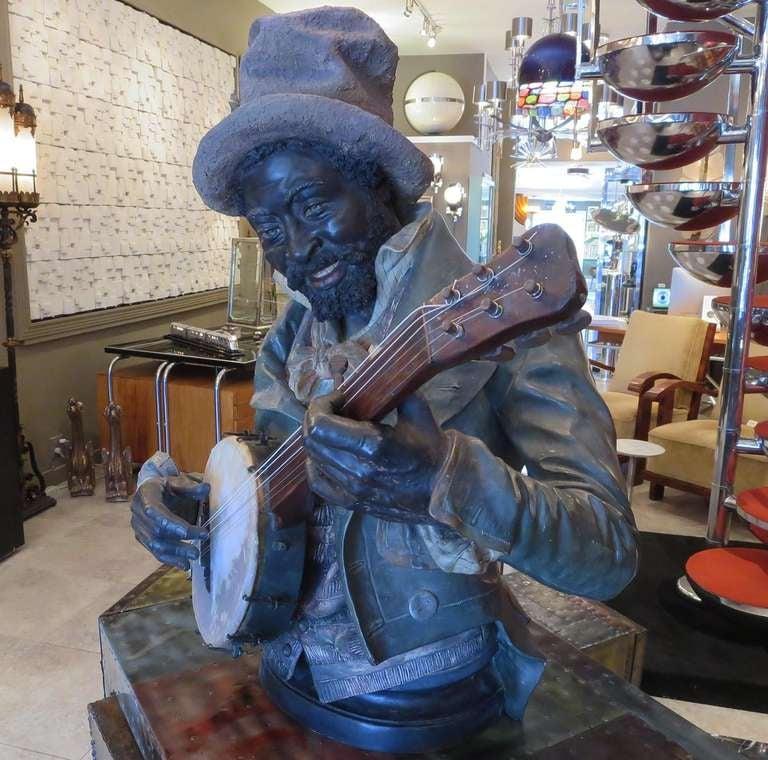 Goldscheider Polychromed Ceramic Minstrel with Banjo For Sale 1