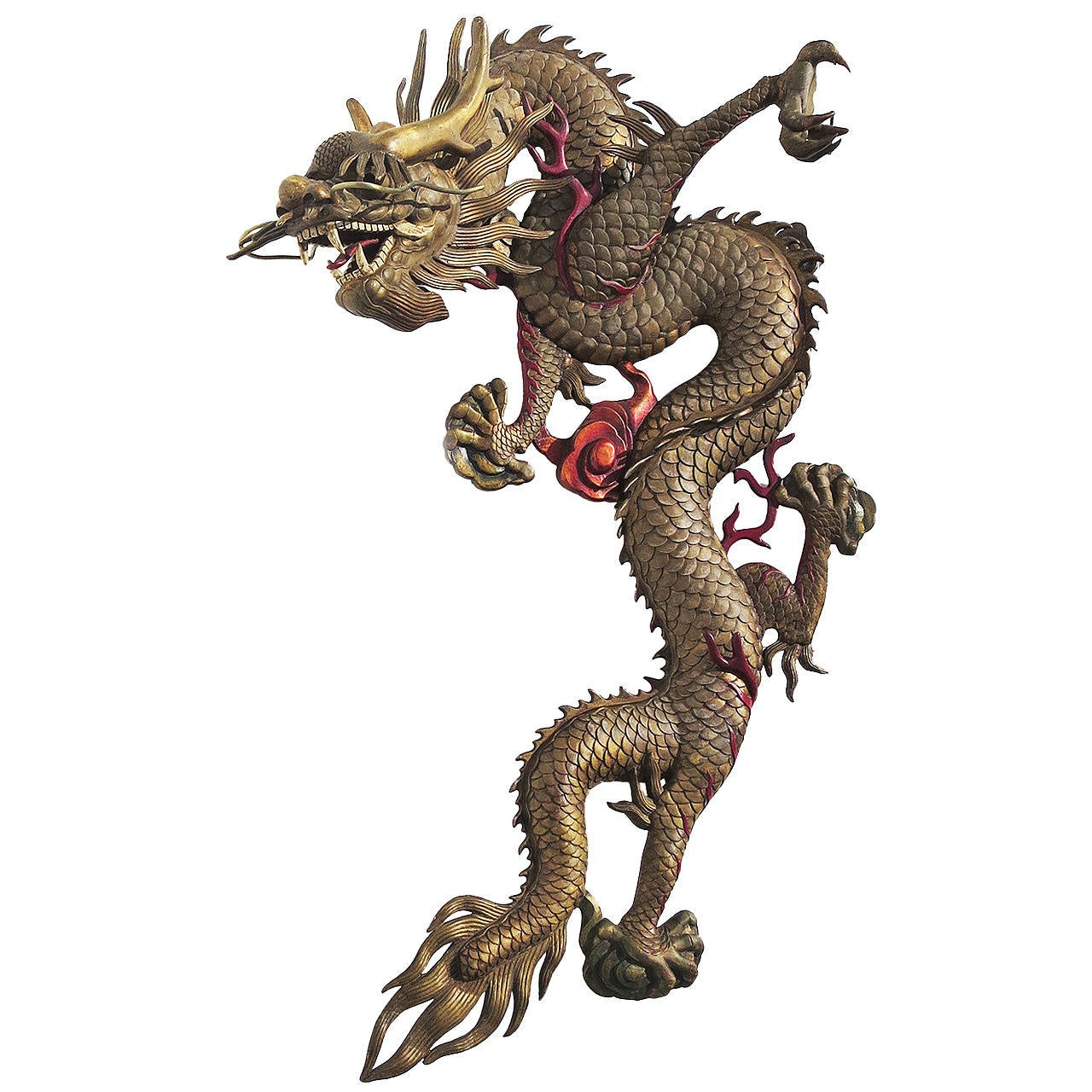 Grand Scale Carved Wooden Dragon Wall Hanging Sculpture For
