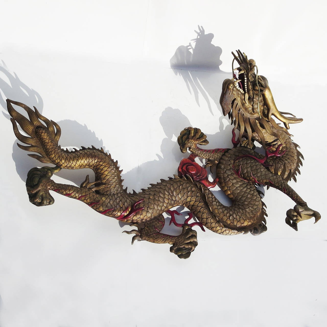 Chinoiserie Grand Scale Carved Wooden Dragon Wall Hanging Sculpture For
