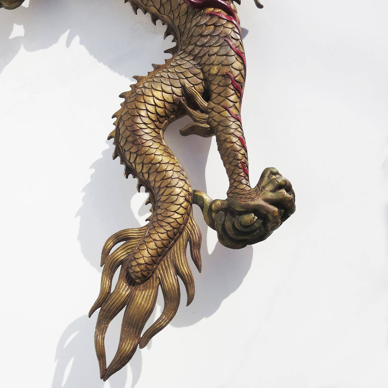 Mid 20th Century Grand Scale Carved Wooden Dragon Wall Hanging Sculpture For