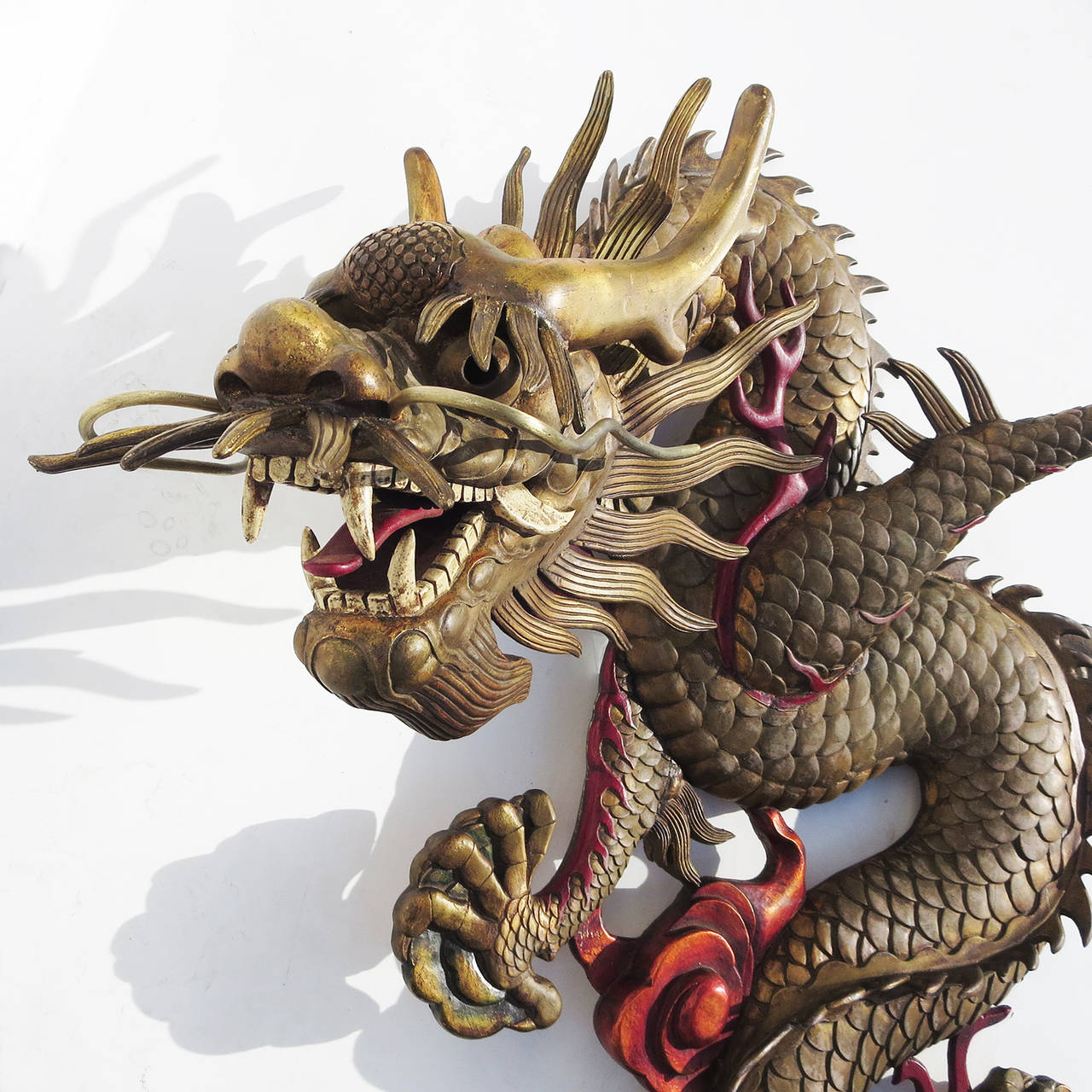 Grand Scale Carved Wooden Dragon Wall Hanging Sculpture For 2