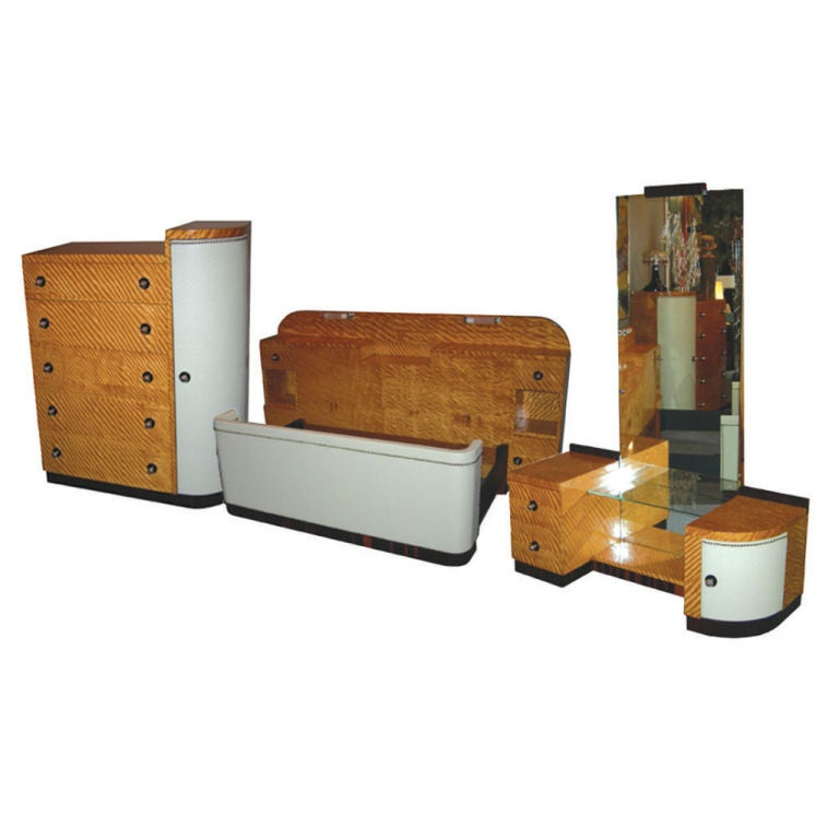 030014 Art Deco Style Burl Wood Veneer Bedroom Set