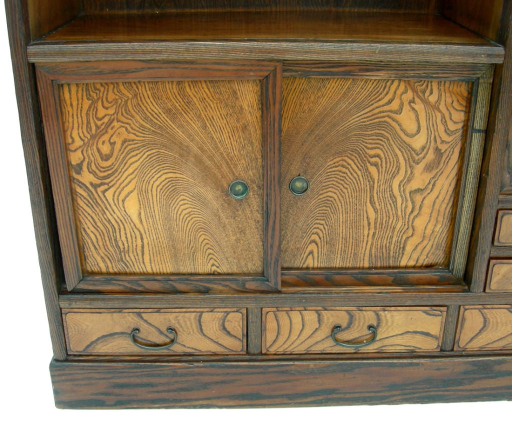 Elm Wood Chinese Tansu Cabinet At 1stdibs