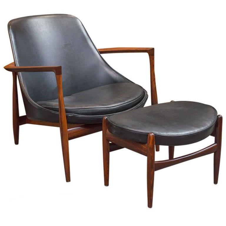 Ib Kofod-Larsen Elizabeth Lounge Chair and Ottoman For Sale