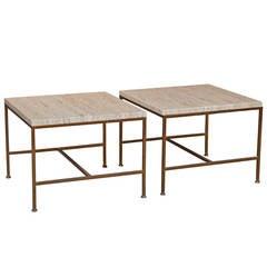 Paul McCobb Style Travertine End Tables