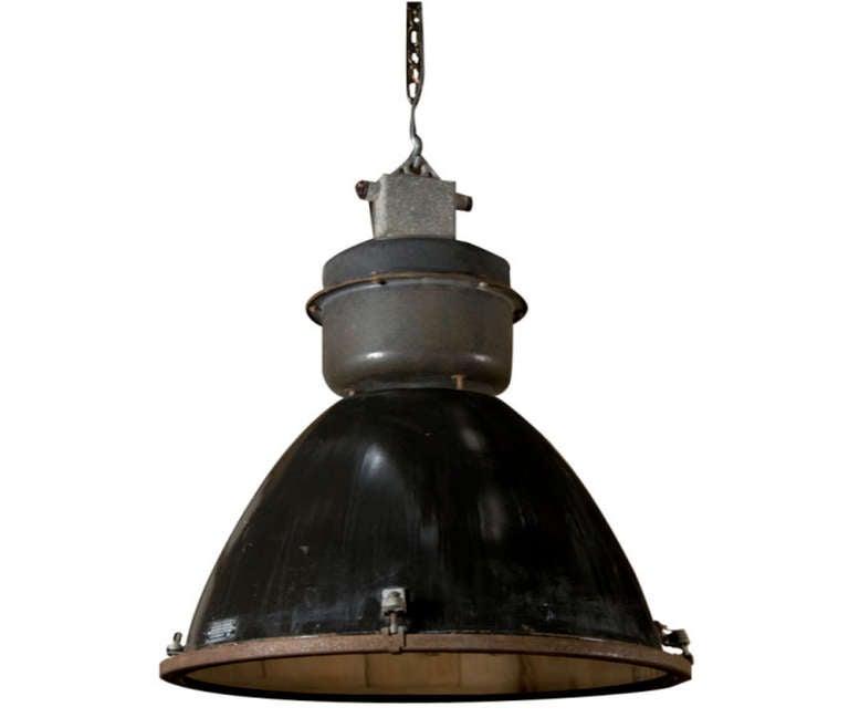 industrial black enamel hanging light at 1stdibs