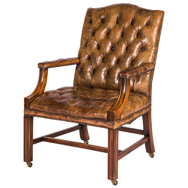 tufted leather armchairs at 1stdibs