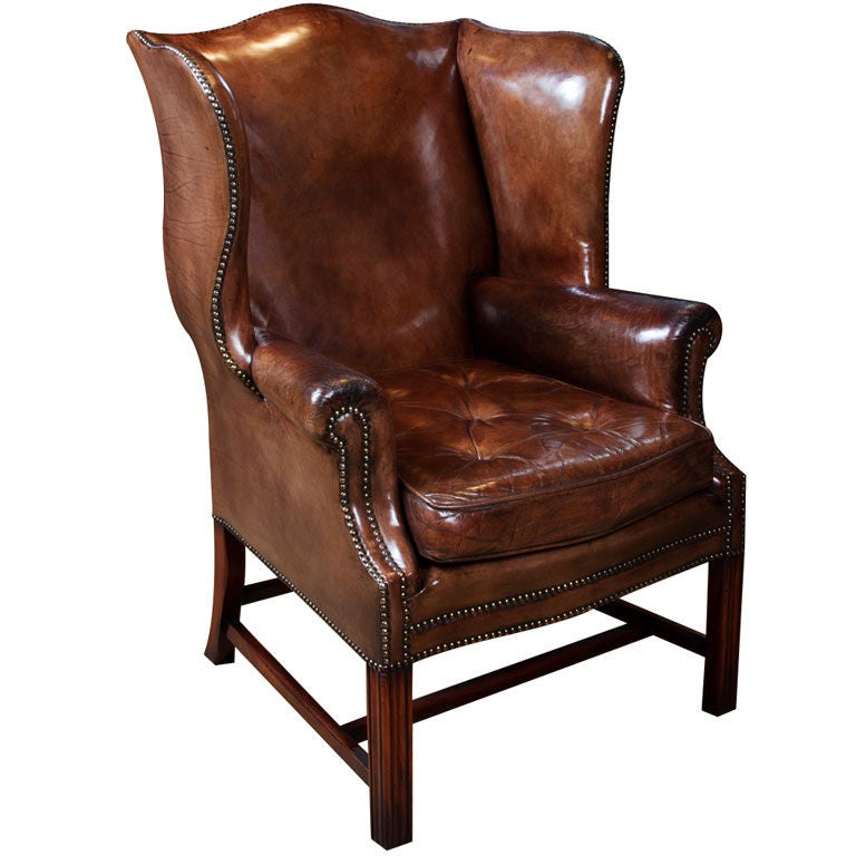 Leather Wing Chair At 1stdibs