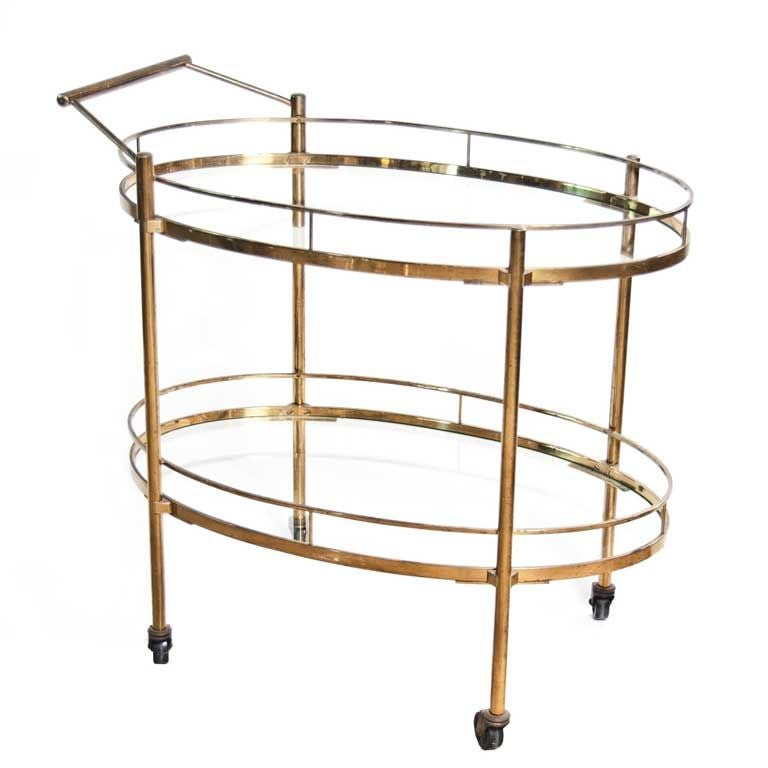 Floating Square Coffee Table In Green And Black Slatelike: Brass And Glass Bar Cart At 1stdibs