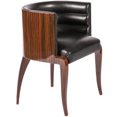 Macassar Deco Barrel Back Chair