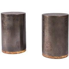 Pair of Steel Drum Tables