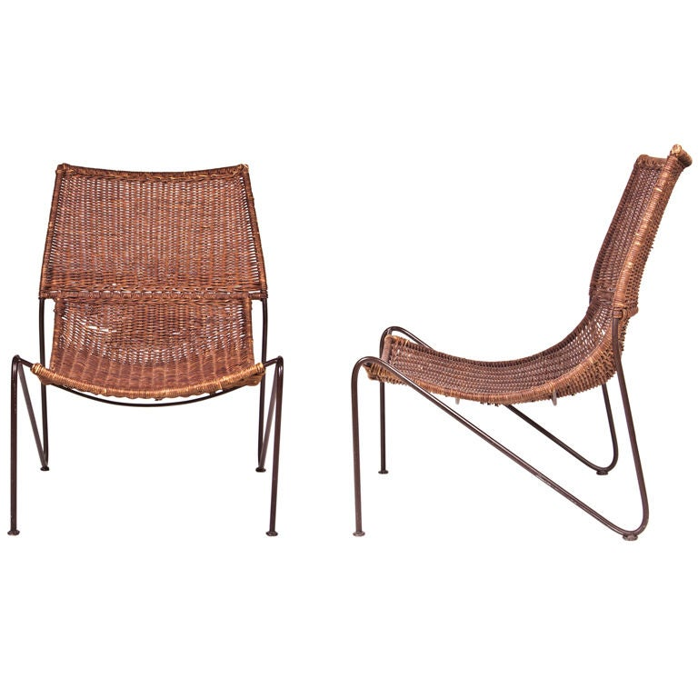 Pair Of Van Keppel And Green Wicker Chairs At 1stdibs