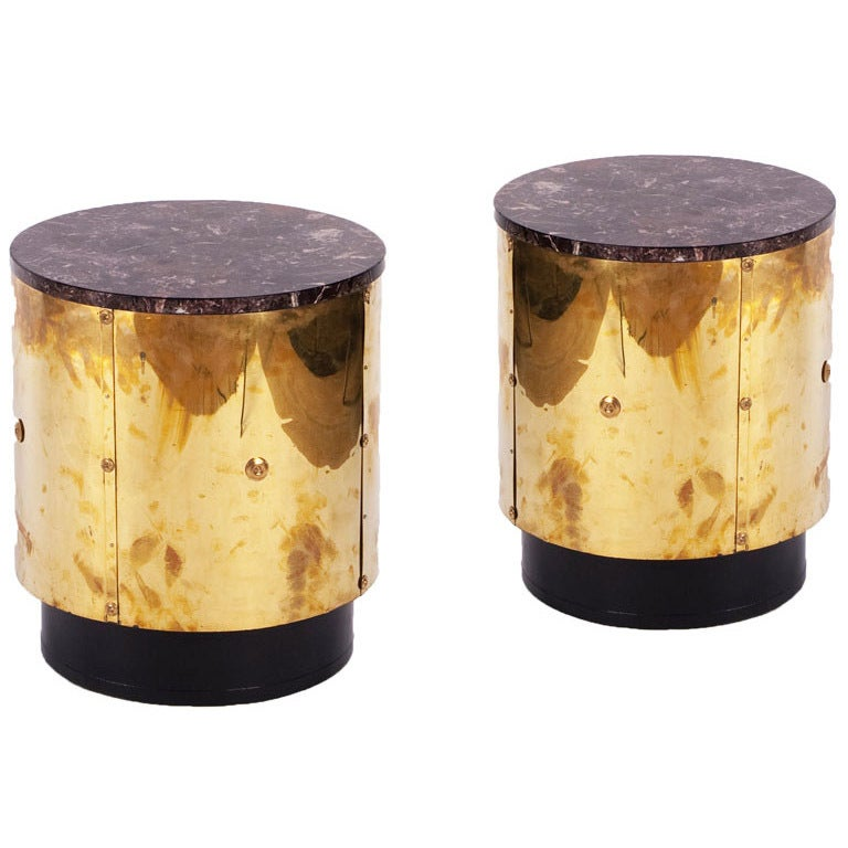 Pair of brass drum side tables at 1stdibs for Drum side table