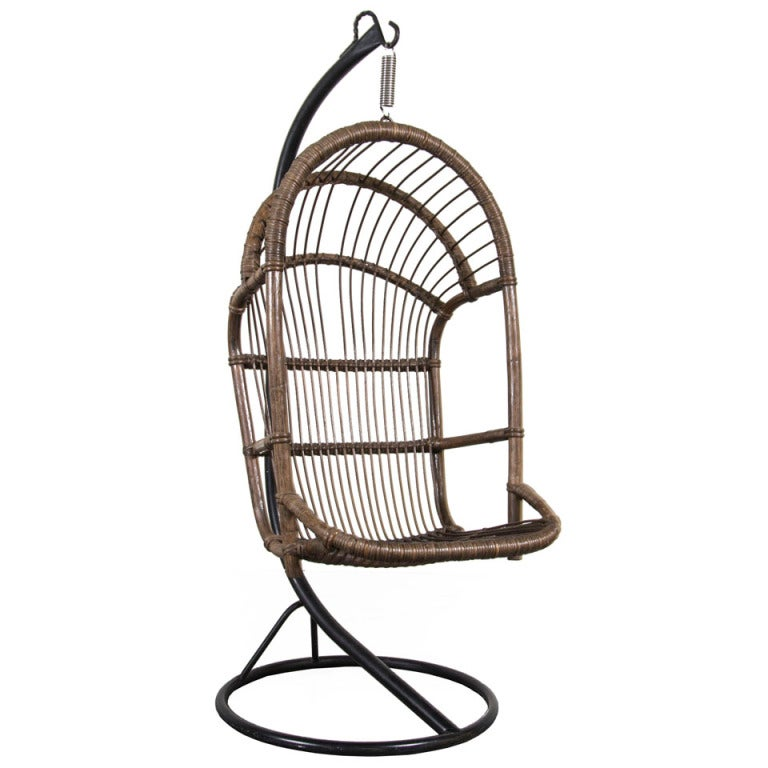 rattan hanging pod chair at 1stdibs