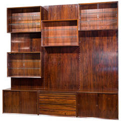 Modular Danish Rosewood Wall Unit by Poul Cadovius