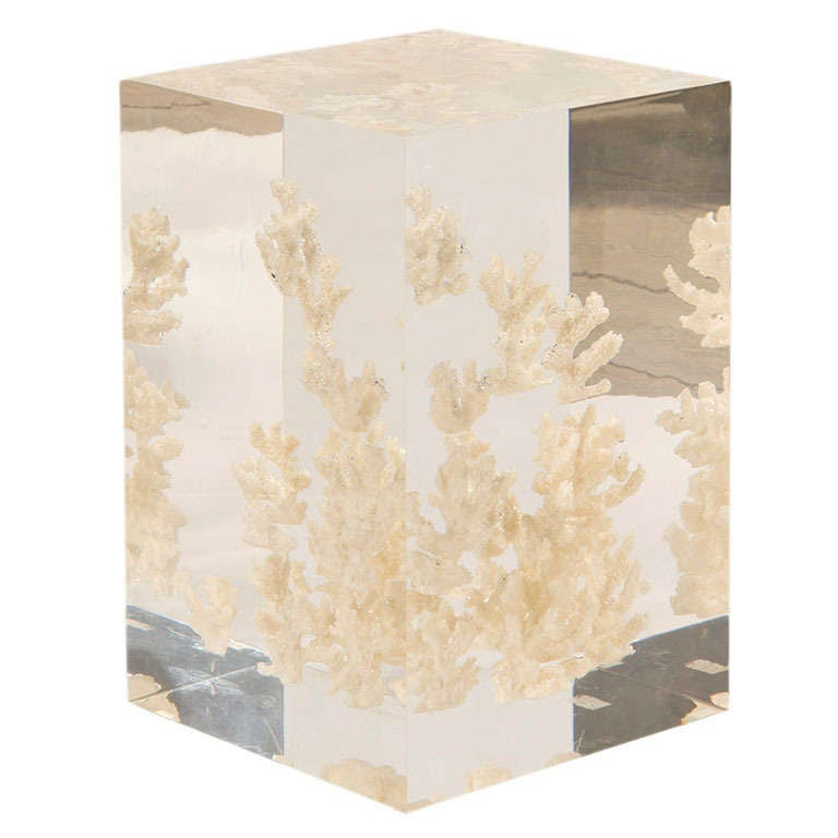 Acrylic Cube Side Table With White Coral Fragments At 1stdibs