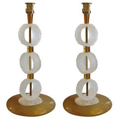 Elegant Pair of 1970s White and Gold Murano Glass Lamps