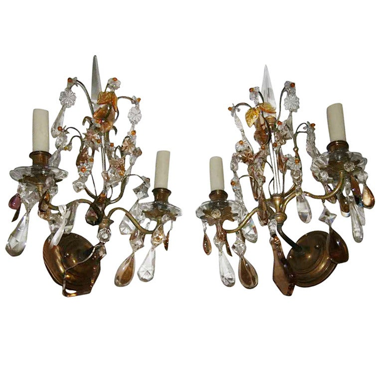 Amber Crystal Wall Lights : Pair of 19th Century Clear and Amber Crystal Sconces Rewired at 1stdibs