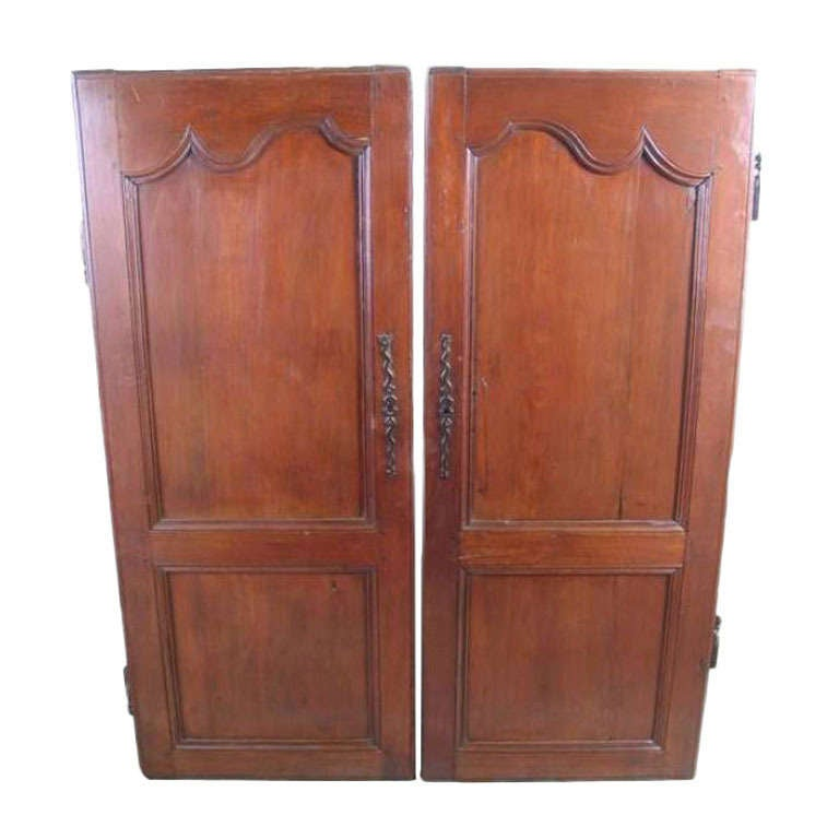 ON SALE  Doors Pair of 19th Century French Fruitwood Armoire Doors