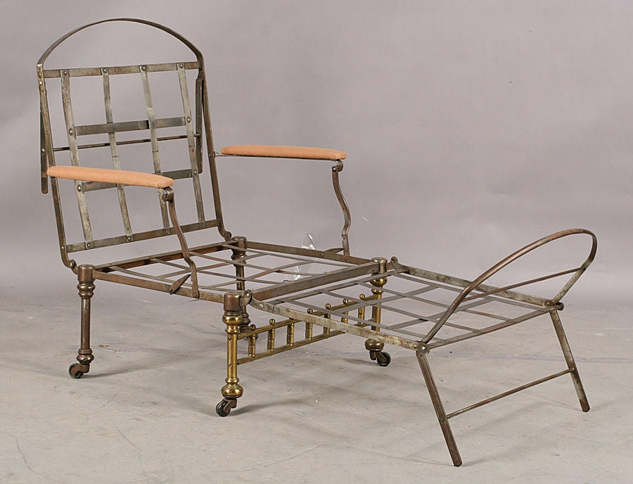 great 19th century iron and brass campaign folding chaise at 1stdibs. Black Bedroom Furniture Sets. Home Design Ideas