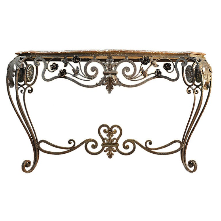 Wrought iron and marble console table at 1stdibs for Wrought iron table bases marble top