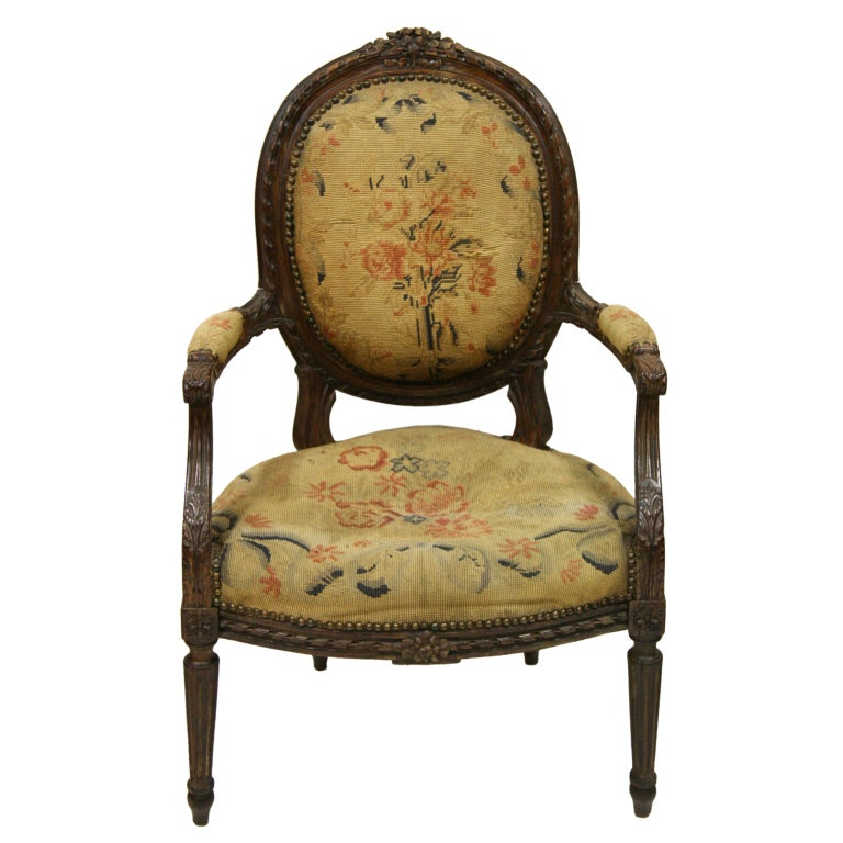 18th century french louis xvi fauteuil chair three. Black Bedroom Furniture Sets. Home Design Ideas