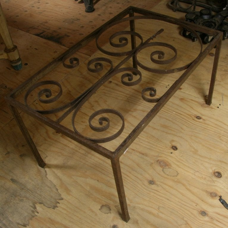 19th century french wrought iron made into coffee table for Wrought iron coffee table for sale