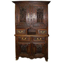 ON SALE  Cabinet 18th Century French Oak Buffet Deux Corps