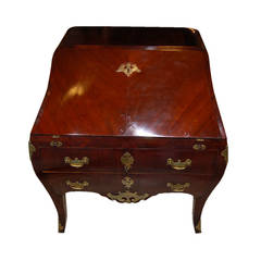Desk  Signed Rococo Mahogany with Original Hardware, circa 1760